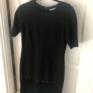 Black shift dress (lined) with a suede detail